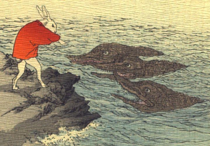 Il coniglio lunare attraversa il fiume
