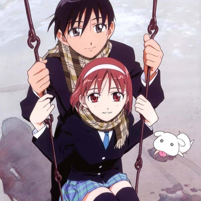 Soichiro e Yukino sull'altalena