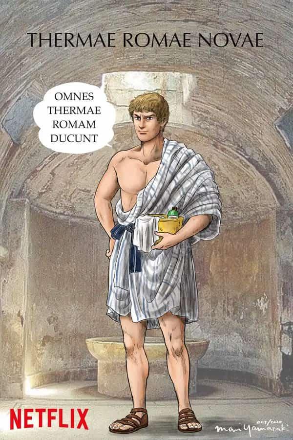 Immagine del protagonista di Thermae Romae, Lucius, in un'immagine speciale per pubblicizzare la serie di Netflix.