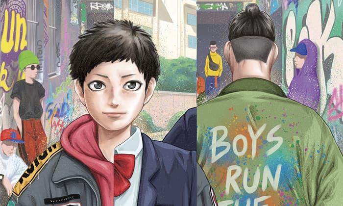 Copertina di Boys Run The Riot con un mezzobusto del protagonista e la schiena del deuteragonista.