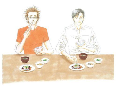 Illustrazione del manga What did you eat yesterday? con i due protagonisti che mangiano un pasto tradizionale giapponese.