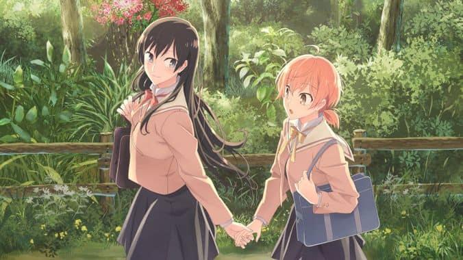 Immagine delle protagoniste di Bloom Into You che si tengono per mano.