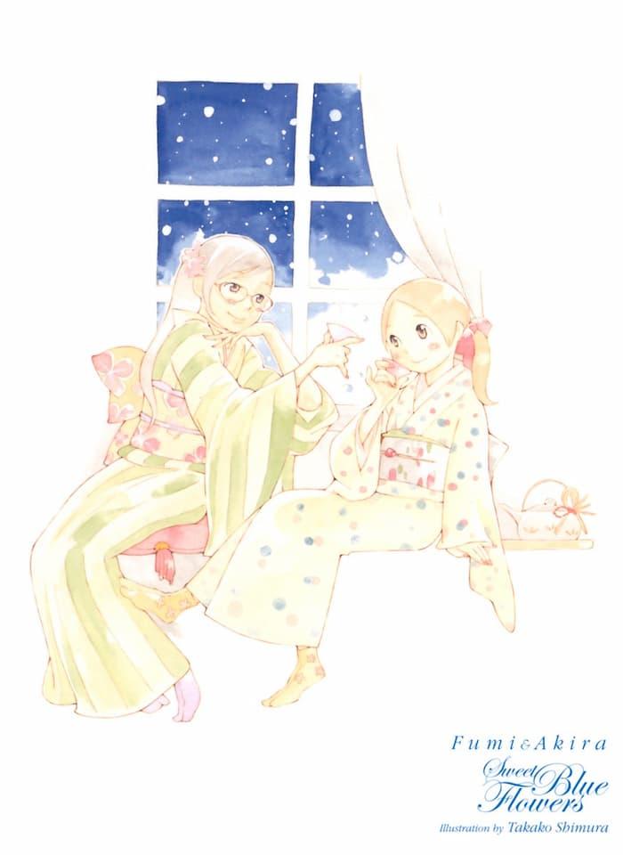 Illustrazione di Sweet Blue Flowers che ritrae le protagoniste in un kimono invernale.