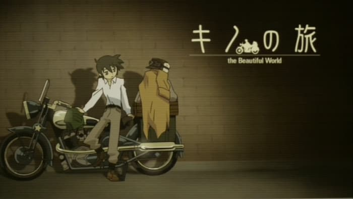 Screenshot d'intermezzo dell'anime di Kino no tabi, dove Kino è appogiatǝ alla sua motocicletta.
